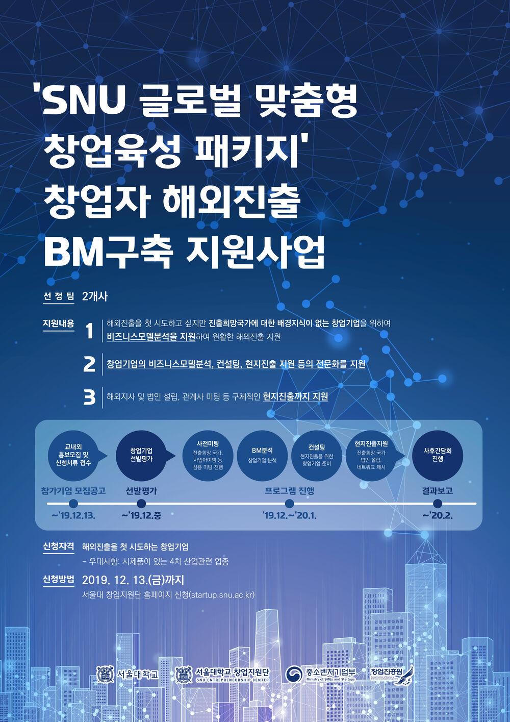 [포스터]SNU 글로벌 맞춤형 창업육성 패키지 창업자 해외진출 BM구축 지원사업_수정.jpg